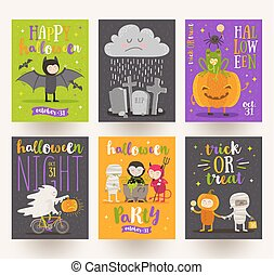 Set of Halloween posters or greeting card with cartoon...