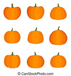 Set of halloween pumpkin on white background, vector illustration