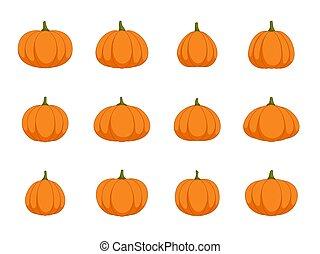 Set of halloween pumpkin on white background, vector illustration