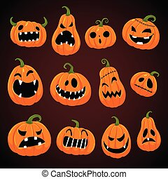 Set of Halloween pumpkins with different faces.