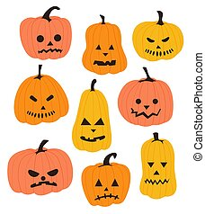 Set of Halloween pumpkins with different faces