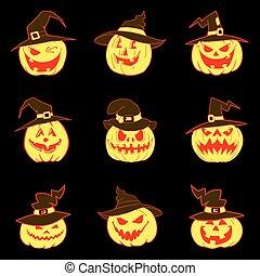 Set of halloween pumpkins with hat