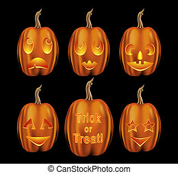 Set of halloween pumpkins with various emotional expressions...