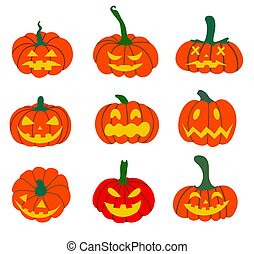 Set of Halloween pumpkins.pumpkin is a Halloween symbol. Vector illustration in a flat style