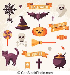 Set of Halloween ribbons and characters.