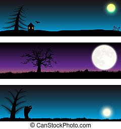 Set of Halloween vector banners