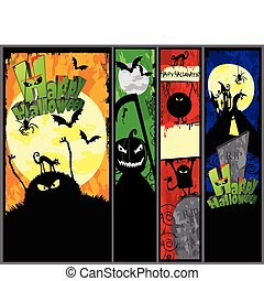 Set of Hallowen Banners - Set of 4 vertical Halloween...