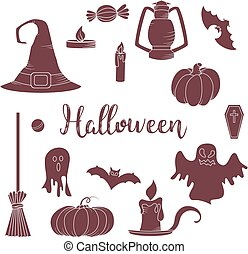Set of hallowen elements. Vector goast, pumpkin, hat icons. Spooky illustration.