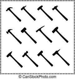 set of hammer icons