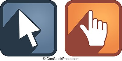 Set of hand and arrow cursors. Vector
