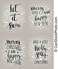Set of hand calligraphic winter holidays quotes