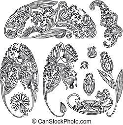 black flower design - Set of hand draw ornate black flower...