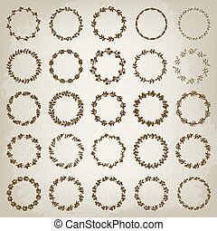 Set of hand-draw victory laurel wreaths for stationary. Vector illustration