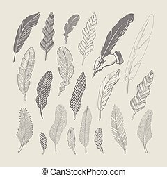 Set of hand-drawing black feathers