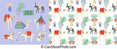 set of hand drawing camel, donkey and palm tree
