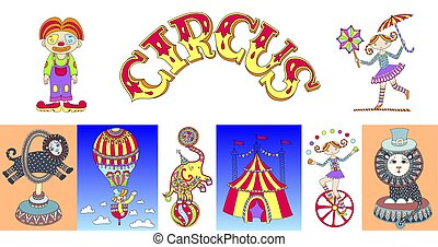 set of hand drawing carton circus show vector illustration