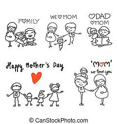 set of hand drawing cartoon character concept happy mothers day
