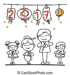 Set of hand drawing cartoon character people Happy Chinese New Year 2017