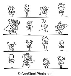 Set of hand drawing cartoon character people Happy Chinese New Year