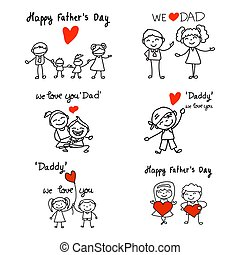 Hand drawing cartoon concept Happy Fathers Day.