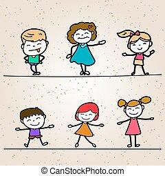 Set of Hand drawing cartoon happy kids
