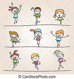 set of hand drawing cartoon happy kids running marathon