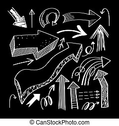 set of hand drawing isolated arrows collection on black background