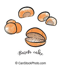 Set of hand drawn and colored bread rolls