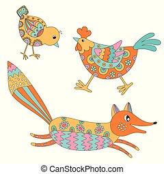 Set of hand drawn animals: fox, hend and chicken