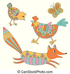 Set of hand drawn animals: fox, hend, chicken and butterfly