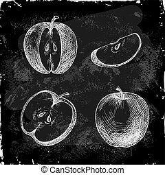 Set of hand drawn apple