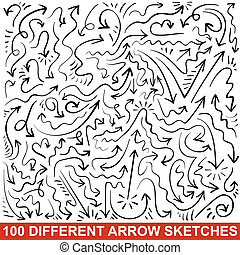 Set of hand drawn arrow sketches. Black graphic pointers