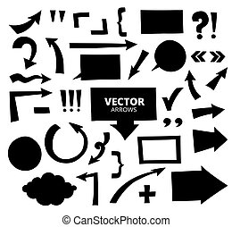 Set of hand drawn arrows and cartoon design elements isolated on white, vector illustration.