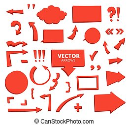 Set of hand drawn arrows and cartoon design elements isolated on