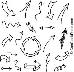 Set of hand-drawn arrows on white background.