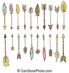 Set of hand drawn arrows. Vector doodles design elements