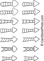 Set of hand drawn arrows with patterns