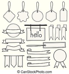 Set Of Hand Drawn Banners Labels Tags And Ribbons. Hand Drawn Doodle Isolated Elements.