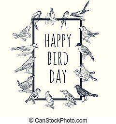 Set of hand drawn birds. Passerine. International Bird Day...