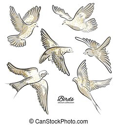 Set of hand drawn birds with golden sparkles isolated on white background. Vector illustration.