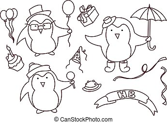 Set of hand drawn Birthday elements with penguin