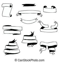 Set of hand-drawn black and white banner ribbons
