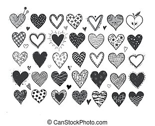Set of hand drawn black doodle sketch hearts on white background. Vector illustration.