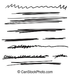 Set of hand drawn black lines. Vector collection of underline, emphasis, scribble brush strokes.
