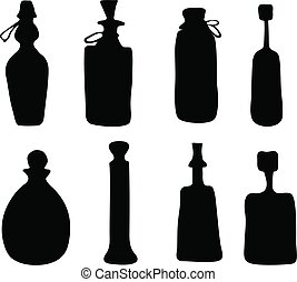 Set of hand drawn black silhouette bottles vector illustration