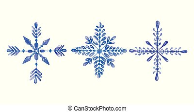 Set of hand-drawn blue watercolor snowflakes isolated on white background. Can be used as a Christmas card or background.