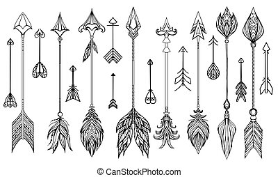 Set of hand drawn boho arrows. Vector elements for your...