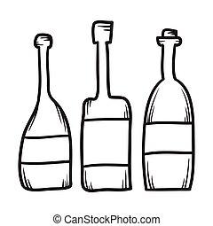 Set of hand drawn bottles line vector illustration
