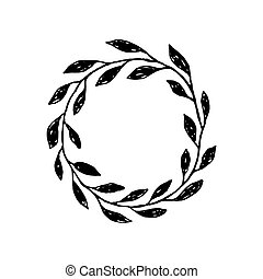 Set of hand drawn branches. Ink illustration. Collection plants.
