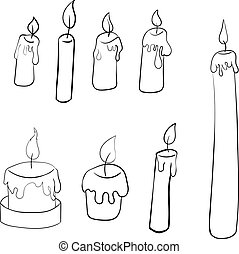 set of hand-drawn burning candles. isolated candles on a white background